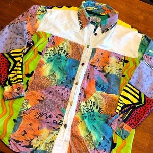 80's 90's Bel Air Neon Abstract Button down shirt